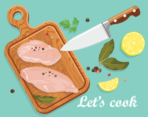 Cooking banner. Raw chicken fillet on wooden cutting board, kitchen knife, spices, lemon. Vector illustration of fresh meat in cartoon simple flat style. Cooking banner. Raw chicken fillet on wooden cutting board, kitchen knife, spices, lemon. Vector illustration of fresh meat in cartoon simple flat style. cutting board stock illustrations