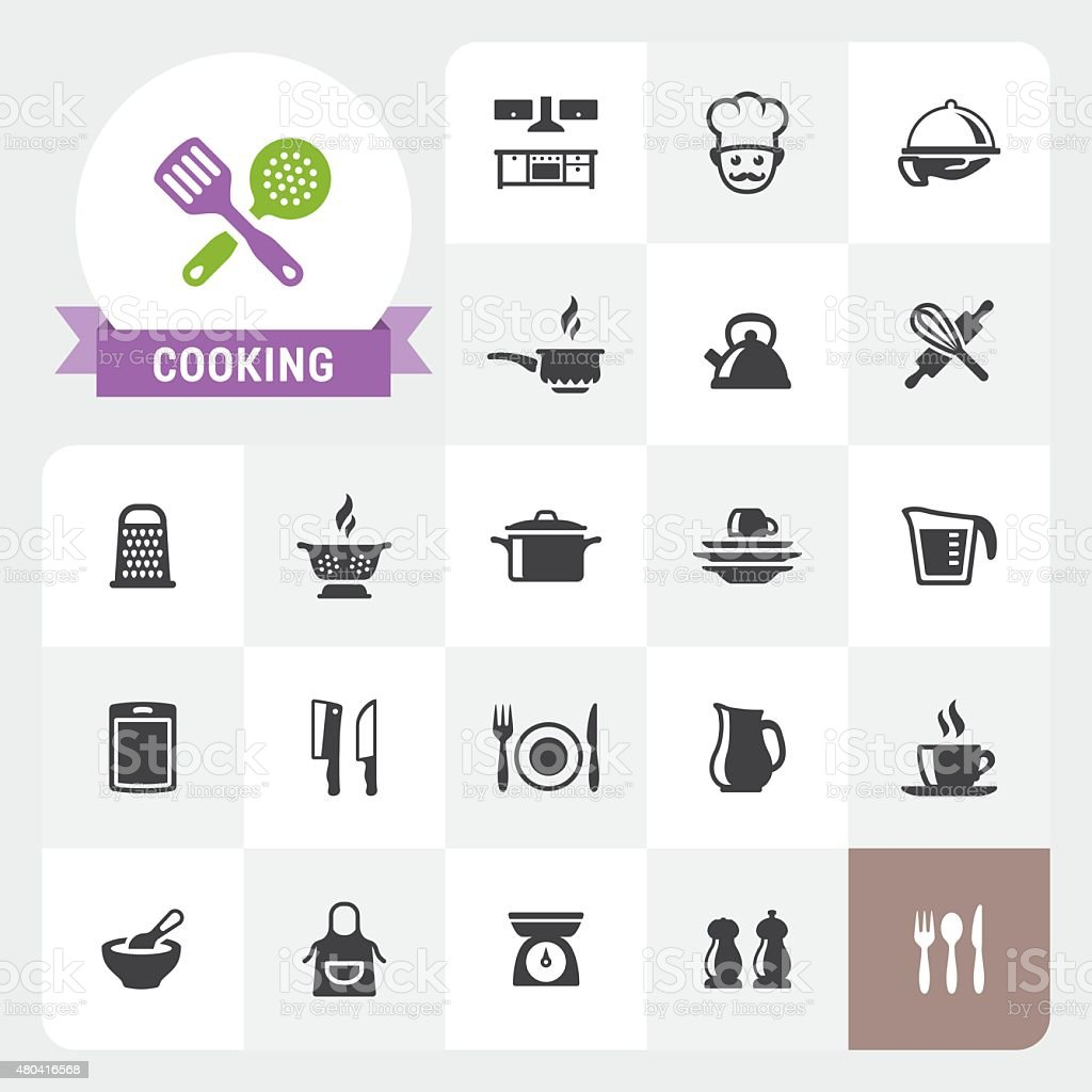 Cooking base vector icons and label vector art illustration