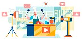Cooking Tutorial. Video Blogger. Man Recording Video in Studio. Youtube Icons, Like, Subscribe and Comments. Vlogger Content Creator. Blog Management. Getting Money with Youtube. Vector EPS 10.