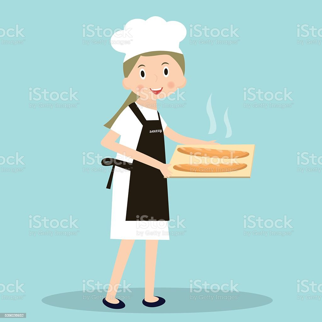 Cooking bread miller chef. Professions miller. Baker with hot baguettes. vector art illustration