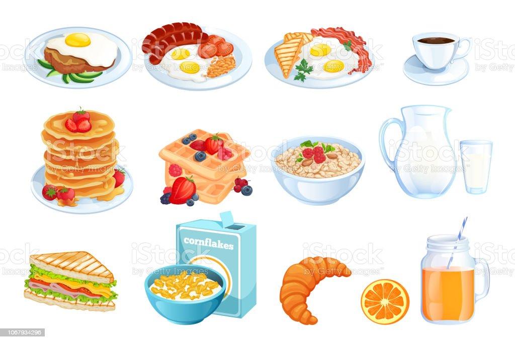 Cuisson Petit Déjeuner Illustration Vectorielle Ensemble De