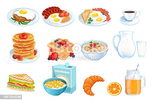Cooking breakfast, vector cartoon illustration. Set of isolated morning meal dishes. Restaurant or cafe brunch menu design elements.