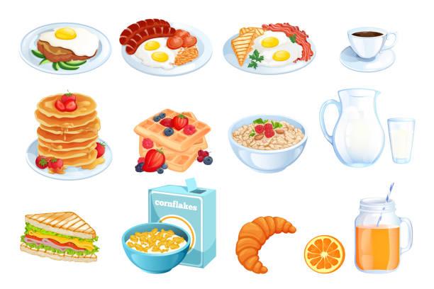 ilustraciones, imágenes clip art, dibujos animados e iconos de stock de cocina desayuno, ilustración del vector. juego de platos de comida mañana aislado. elementos de diseño de menú restaurante o cafetería. - desayuno