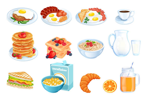 illustrazioni stock, clip art, cartoni animati e icone di tendenza di cooking breakfast, vector illustration. set of isolated morning meal dishes. restaurant or cafe menu design elements. - piatto stoviglie