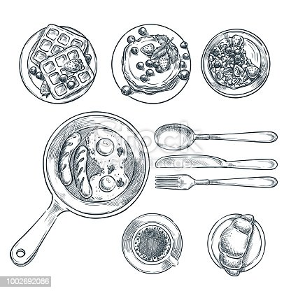 Cooking breakfast, vector top view sketch illustration. Set of isolated hand drawn morning meal. Restaurant or cafe brunch menu design elements.