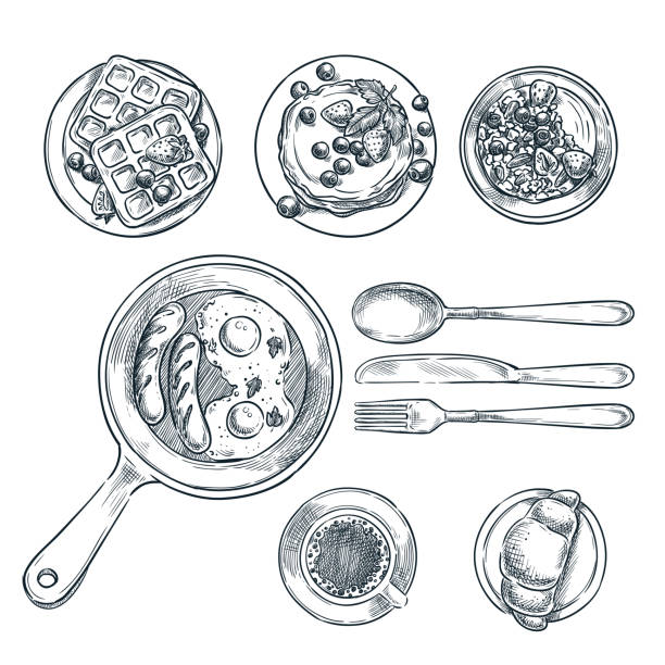illustrazioni stock, clip art, cartoni animati e icone di tendenza di cooking breakfast, vector top view sketch illustration. set of isolated hand drawn morning meal. - coltello posate