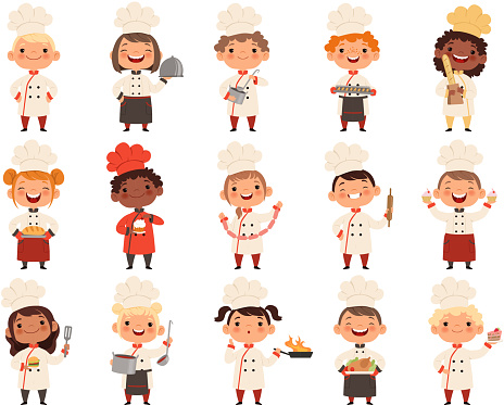 Cooking childrens. Little funny laugh kids making food profession chef vector boys and girls