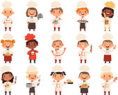Cooking childrens. Little funny laugh kids making food profession chef vector boys and girls. Girl and boy funny cook delicious food illustration