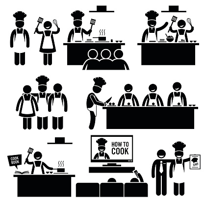 Cooking Class Chef Cook Stick Figure Pictogram Icons