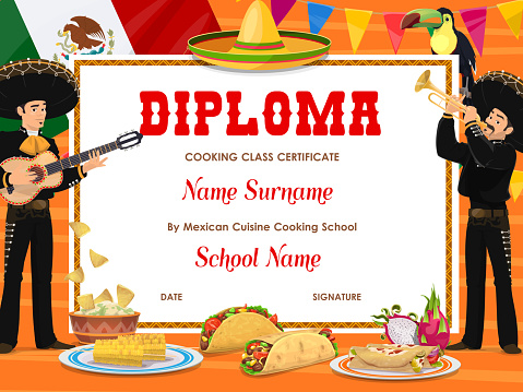 Cooking class diploma with Mexican food, mariachi