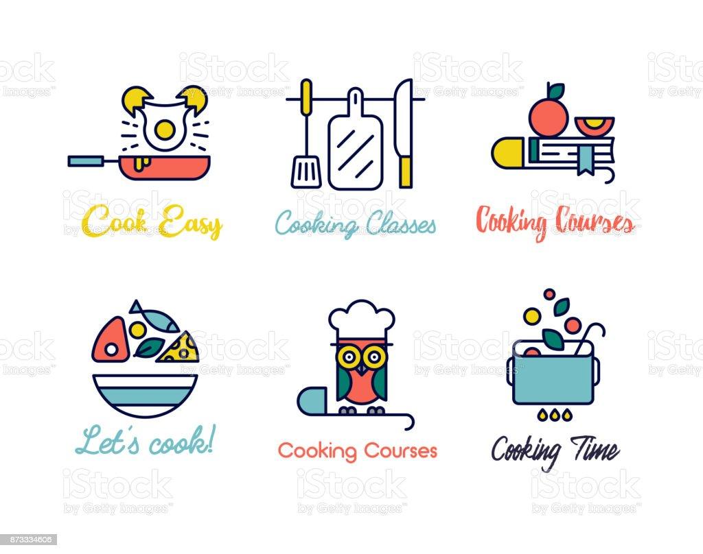 Kochen Klasse geradliniges Design Logos. - Lizenzfrei Abzeichen Vektorgrafik