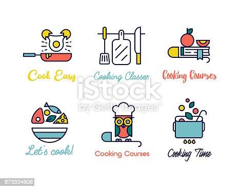 istock Cooking class linear design logos. 873334606