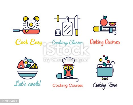 Cooking schools labels for prints, wall decoration, cars, posters, apps.
