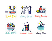 Cooking class linear design logos.