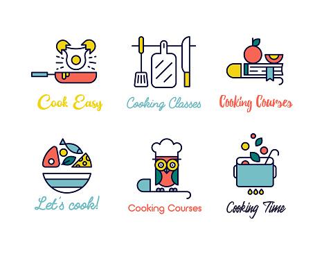 Kochen Klasse Geradliniges Design Logos Stock Vektor Art und mehr Bilder von Abzeichen