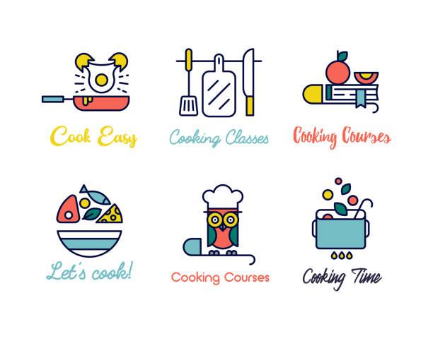 kochen klasse geradliniges design logos. - gourmet küche stock-grafiken, -clipart, -cartoons und -symbole