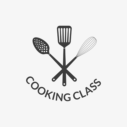 Cooking class logo. Kitchen tools or utensils icon. Spatula, Whisk and Skimmer. Vector illustration.