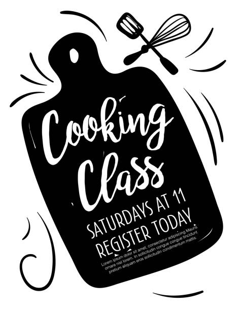 Cooking Class Poster Template With Room For Text Cooking class template with separate layer for text. Cute hand drawn elements. cutting board stock illustrations