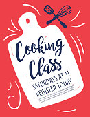 Cooking class template with separate layer for text. Cute hand drawn elements.