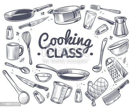 Cooking class. Sketch kitchen tool, kitchenware. Soup pan, knife and fork, spoon and grater chef utensils doodle vector gastronomy culinary dish text emblem concept