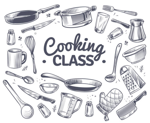 Cooking class. Sketch kitchen tool, kitchenware. Soup pan, knife and fork, spoon and grater chef utensils doodle vector gastronomy concept Cooking class. Sketch kitchen tool, kitchenware. Soup pan, knife and fork, spoon and grater chef utensils doodle vector gastronomy culinary dish text emblem concept frying pan stock illustrations