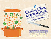 Cooking class poster design with vegetables and meats falling into a pot to cook.