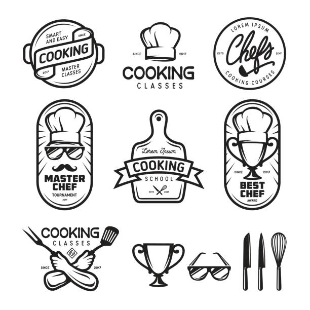 Cooking classes labels set. Vector vintage illustration. Cooking classes labels badges emblems logos set. Design elements for prints, posters, wall decor. Vector vintage illustration. cooking black and white stock illustrations