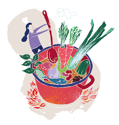 cooking, cooking pot, healthy vegetables - vector illustration
