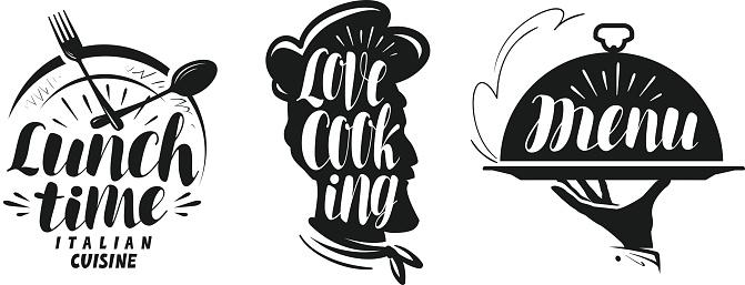 Cooking, cuisine logo. Set icons and symbols for design menu restaurant or cafe. Lettering, calligraphy vector illustration