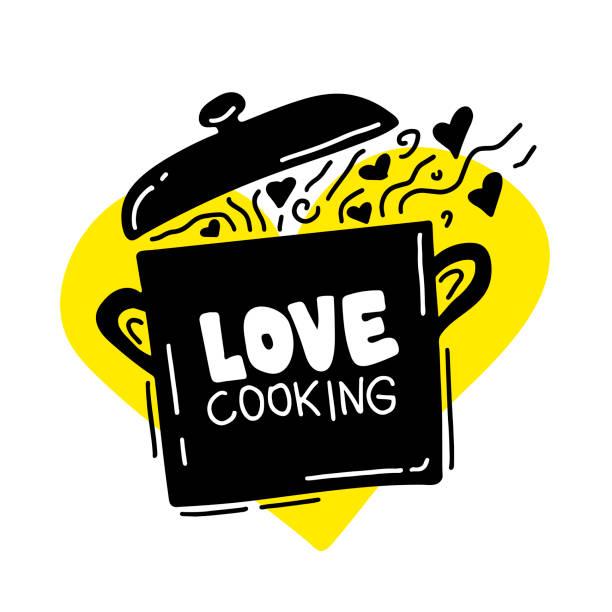 Kochen kulinarische Logo, Utensilien, Löffel, Topf, Liebe Kochen. Schriftzug, Kalligraphie-Logo, Skizze Stil, Herzen. Hand gezeichnete Vektor-Illustration – Vektorgrafik