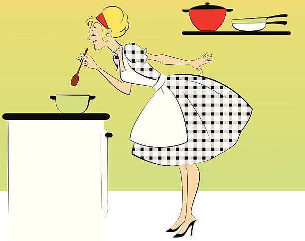 cooking dinner - woman cooking stock illustrations