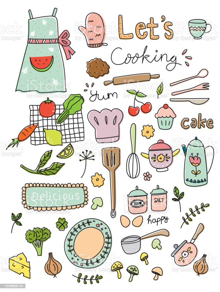 cooking doodle set vector illustration vector art illustration