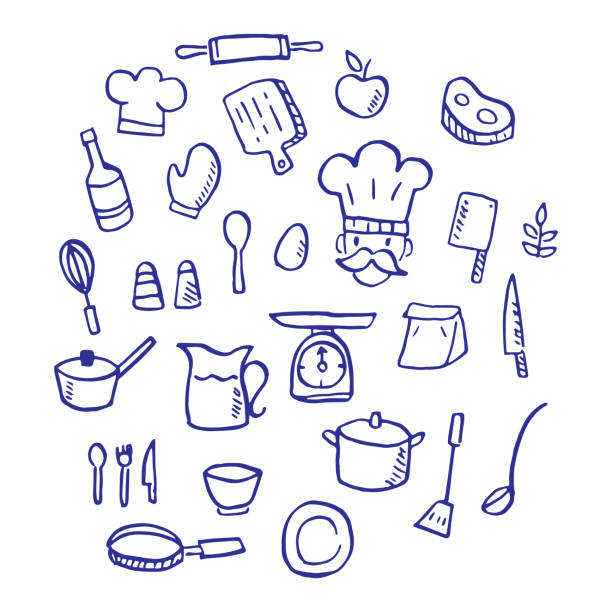 cooking doodle cooking doodle, vector hand drawn style cooking drawings stock illustrations