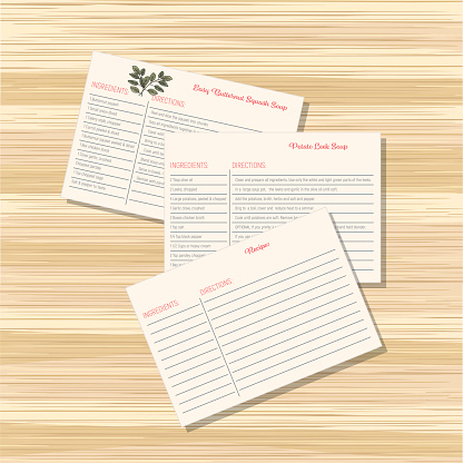 Cooking Elements - Recipe Cards On Wood Table