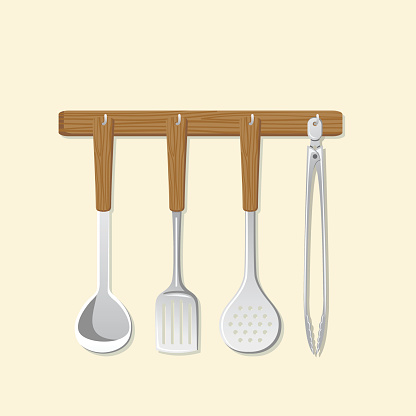 Cooking Elements - Utensils Hanging From Wood Rack
