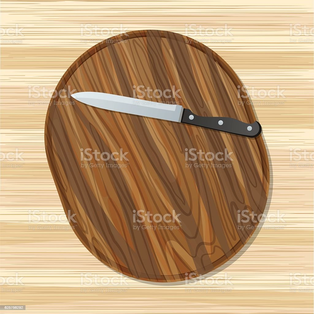 Cooking Elements - Wooden Cutting Board With Knife vector art illustration
