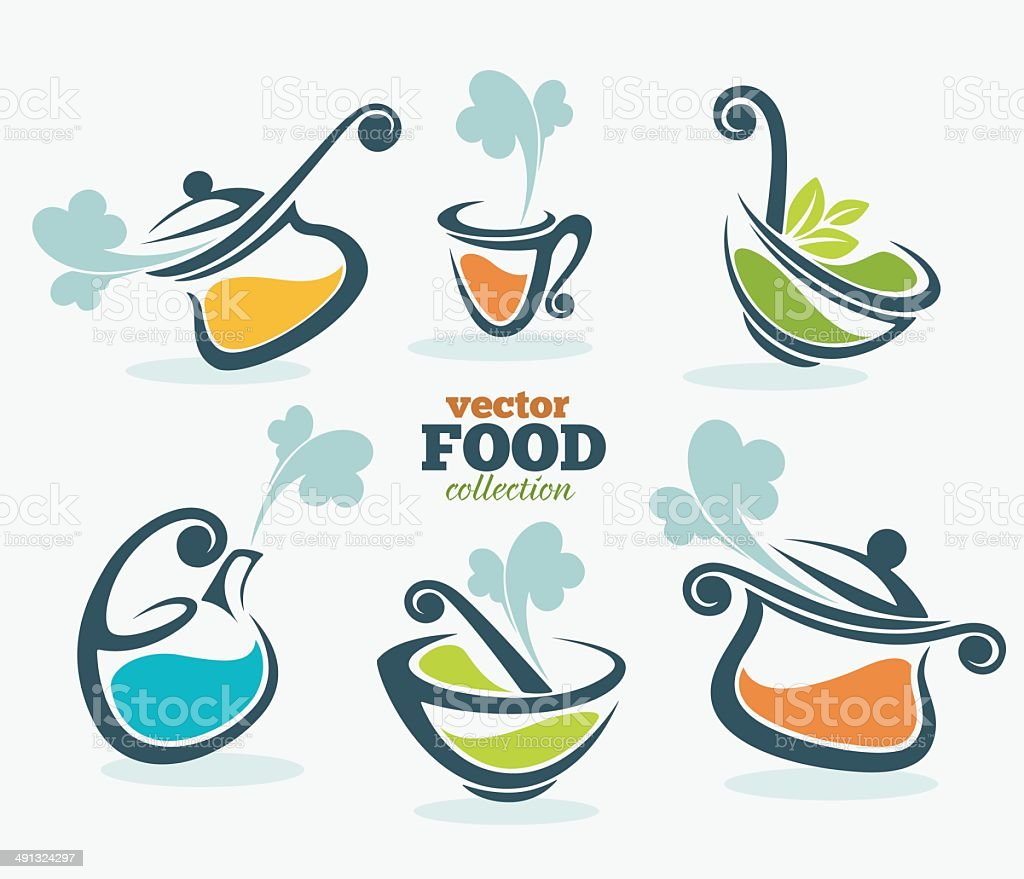 cooking equipment and food symbols vector art illustration