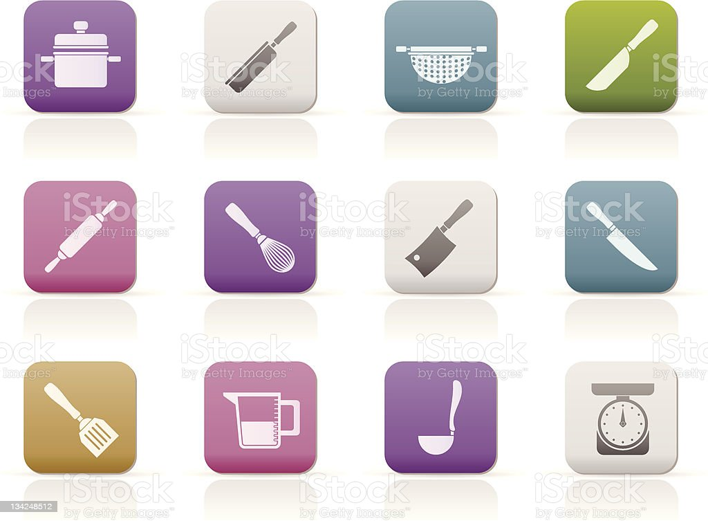 Cooking equipment and tools icons royalty-free stock vector art