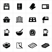 Common cooking appliance icons. Kitchen appliances, stove, refrigerator, microwave, oven, pans, cooking.