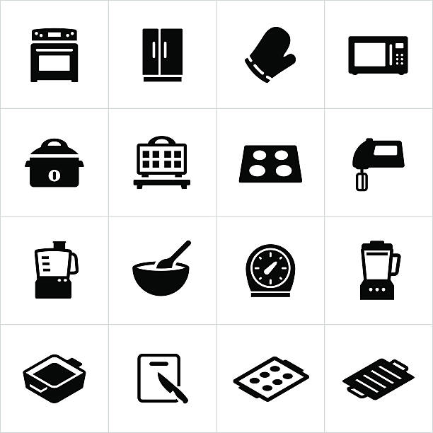 cooking equipment icons - mixing bowl stock illustrations, clip art, cartoons, & icons