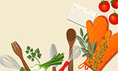 Cooking backgrounds with assorted kitchen elements.