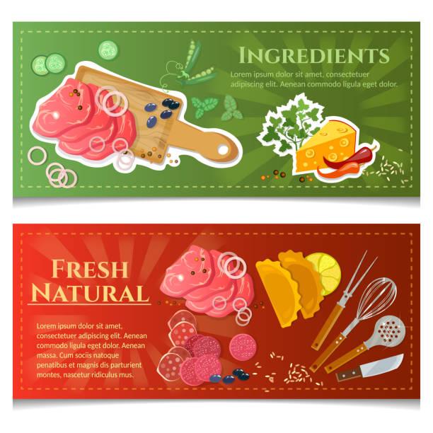 kochen essen banner aufsicht fleisch und gemüse schneiden brett - roastbeef stock-grafiken, -clipart, -cartoons und -symbole