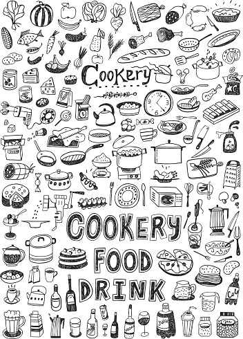 cooking food set icons in sketch style