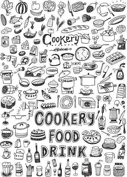 cooking food doodles cooking food set icons in sketch style cooking drawings stock illustrations