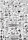 cooking food - set icons in sketch style