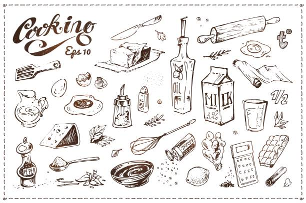 Cooking food illustrations set. Hand drawn vector sketches of kitchenware, tools and ingredients for baking isolated on white background. Vintage kitchen utensil doodles collection Cooking food illustrations set. Hand drawn sketches cooking drawings stock illustrations