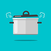 Cooking food in coiling pan or hot saucepan with steam or vapor isolated vector flat cartoon illustration modern color clipart
