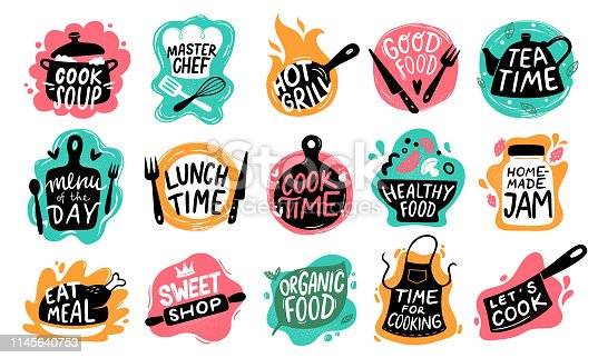 Cooking food lettering. Kitchen badge logos, baking foods typography and cook labels. Chef gourmet food menu logotype, kitchens stamp or cooking quotation. Vector isolated icons set