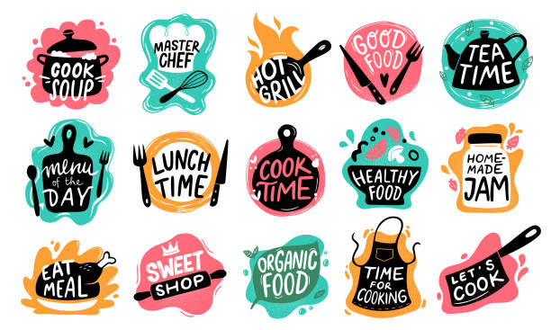 Cooking food lettering. Kitchen badge logos, baking foods typography and cook labels vector set Cooking food lettering. Kitchen badge logos, baking foods typography and cook labels. Chef gourmet food menu logotype, kitchens stamp or cooking quotation. Vector isolated icons set cooking stock illustrations