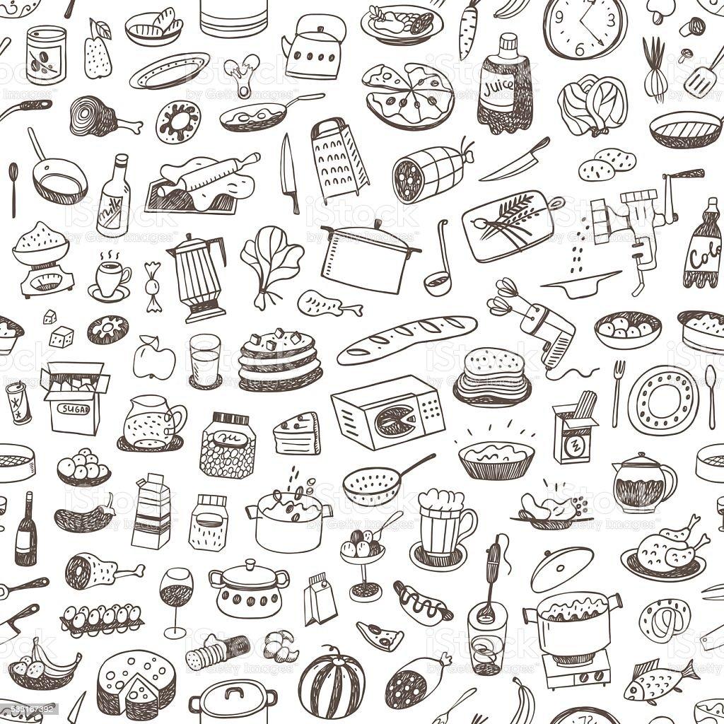 Cocinar alimentos fondo sin costuras - ilustración de arte vectorial